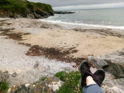 Resting at Lannacombe beach: the SkyeTrail Ultralight Multi-Activity Shoe are perfect for the terrain