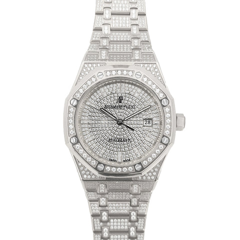 Royal Oak 41mm 15402 Full Diamond Paved In White Gold on Bracelet