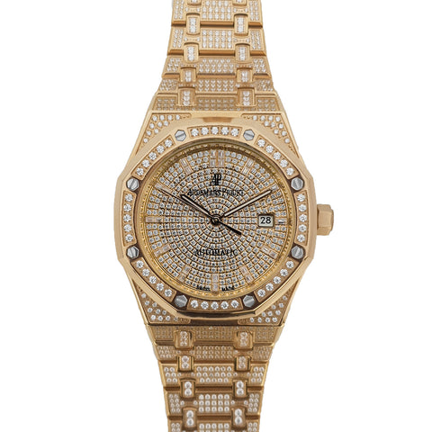 Royal Oak 41mm 15402OR Full Diamond Paved In Pink Gold on Bracelet