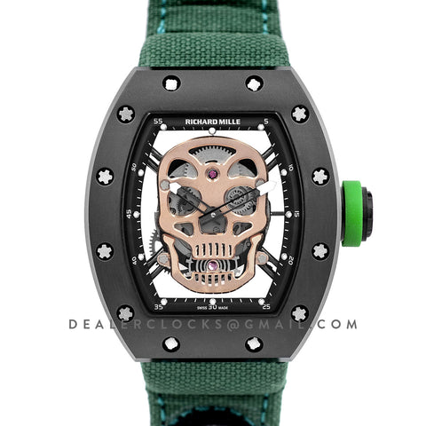 RM 052-01 Tourbillon Gold Skull in PVD on Green Nylon Strap
