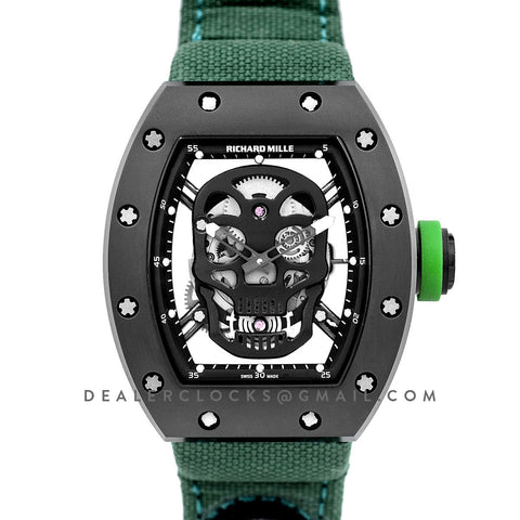 RM 052-01 Tourbillon Black Skull in PVD on Green Nylon Strap