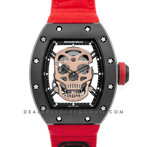 RM 052-01 Tourbillon Gold Skull in PVD on Red Nylon Strap
