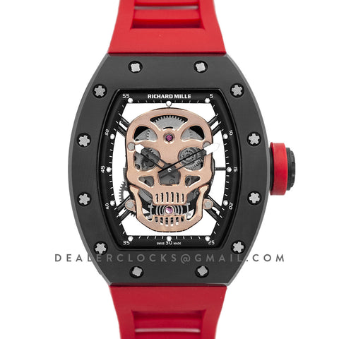RM 052-01 Tourbillon Gold Skull in PVD on Red Rubber Strap