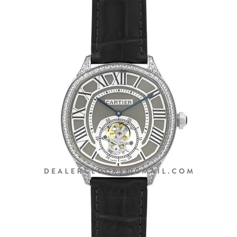 Drive de Cartier Tourbillon Grey Dial with Diamond Bezel in White Gold on Black Leather Strap