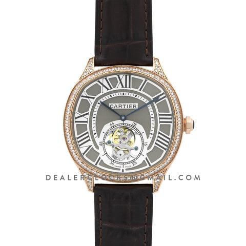 Drive de Cartier Tourbillon Grey Dial with Diamond Bezel in Rose Gold on Black Leather Strap