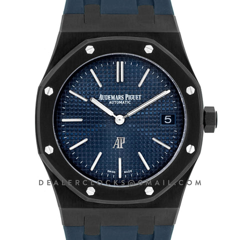 Royal Oak 15202 DLC Black Blue Dial on Blue Rubber Strap