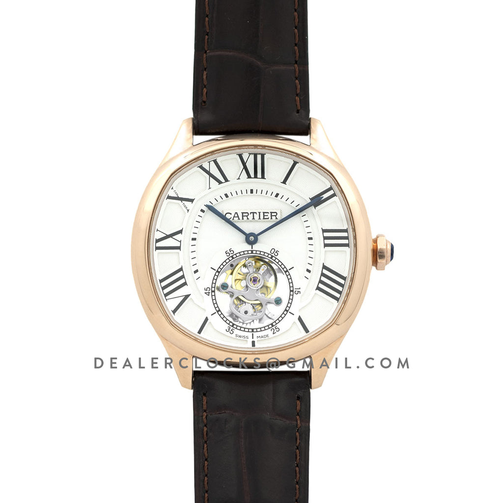 Drive de Cartier Tourbillon White Dial in Rose Gold on Black Leather Strap