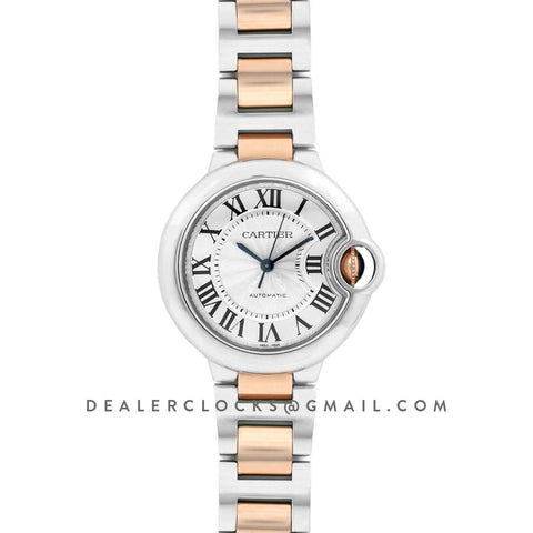Ballon Bleu De Cartier 36mm Silver Dial in Steel/ Pink Gold