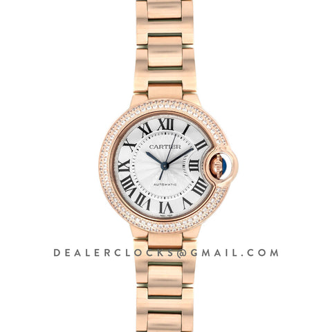 Ballon Bleu De Cartier 36mm White Dial in Pink Gold with Diamond Bezel