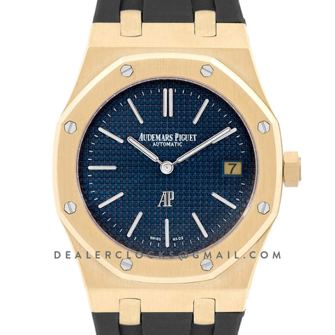 Royal Oak 15202 18K Yellow Gold Blue Dial on Black Rubber Strap