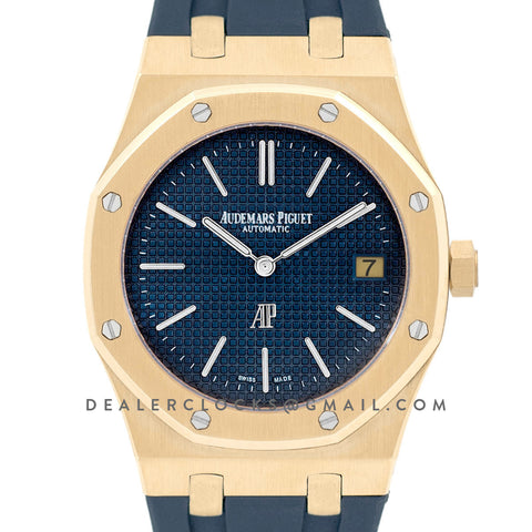 Royal Oak 15202 18K Yellow Gold Blue Dial on Blue Rubber Strap