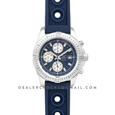 Colt Chronograph 44mm Blue Dial in Steel on Blue Rubber Strap