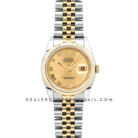 Datejust II 116333 Yellow Gold Dial in Gold/Steel with Roman Markers