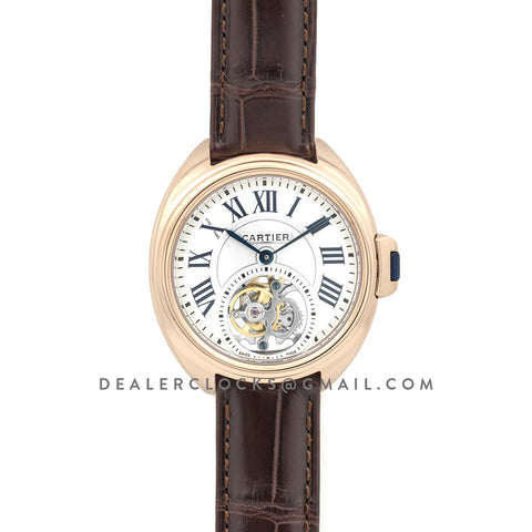 Cle de Cartier Tourbillon Rose Gold 35mm on Brown Leather Strap