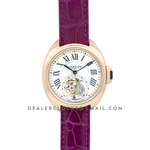 Cle de Cartier Tourbillon Rose Gold 35mm on Pink Leather Strap
