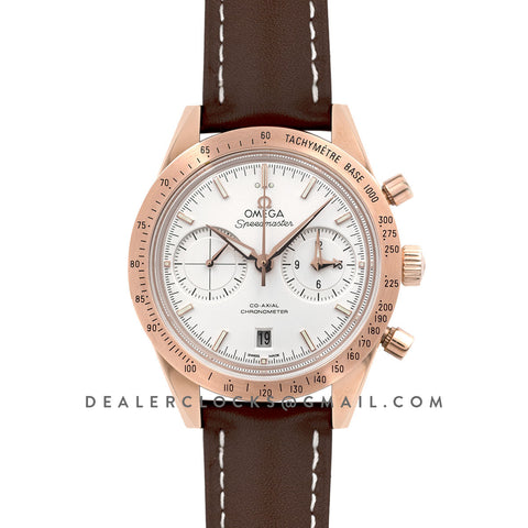 Speedmaster '57 Co-Axial White Dial in Rose Gold on Brown Leather Strap