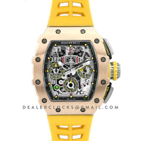 RM 011-03 Automatic Flyback Chronograph in Rose Gold / Titanium on Yellow Rubber