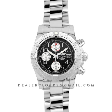 Colt Chronograph 44mm Black Dial in Steel on Steel Bracelet