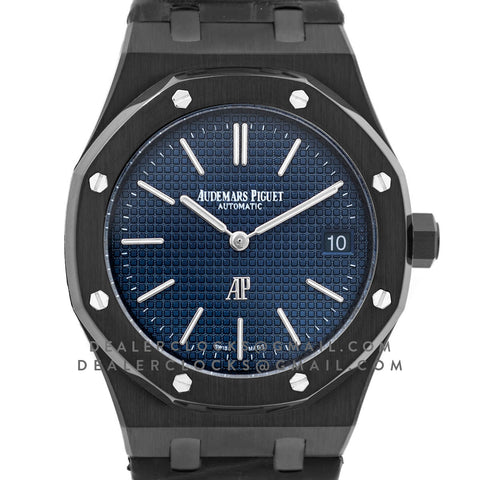 Royal Oak 15202 DLC Black Blue Dial on Black Leather Strap
