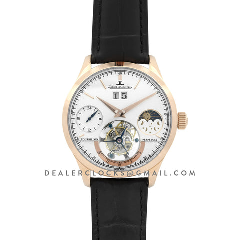 Master Grande Tradition Tourbillon White Dial in Rose Gold on Black Leather Strap