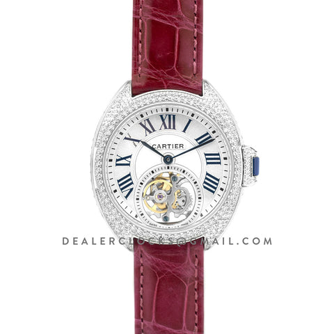 Cle de Cartier Tourbillon with Diamond Bezel in White Gold 35mm on Red Leather Strap