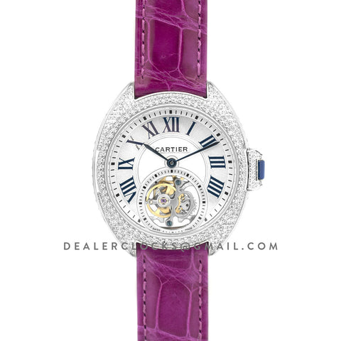 Cle de Cartier Tourbillon with Diamond Bezel in White Gold 35mm on Pink Leather Strap