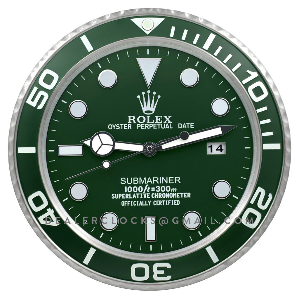Xl rolex submariner 116610lv green wall clock dealer clocks xl submariner series 116610lv green amipublicfo Image collections