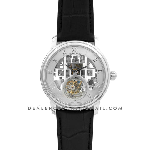 Fantasy Tourbillon Grey Dial in Steel on Black Leather Strap