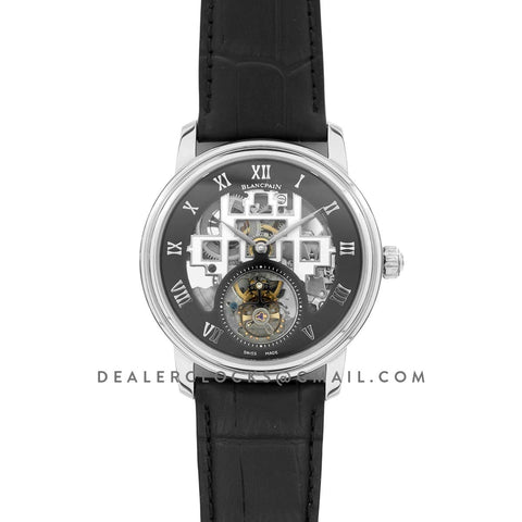 Fantasy Tourbillon Black Dial in Steel on Black Leather Strap