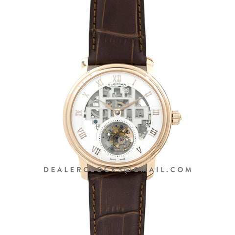 Fantasy Tourbillon White Dial in Rose Gold on Brown Leather Strap