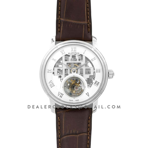 Fantasy Tourbillon White Dial in Steel on Brown Leather Strap