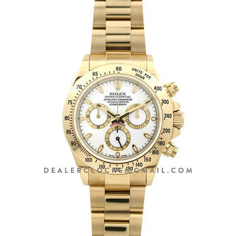 Daytona 116528 White Dial with Yellow Gold Bracelet