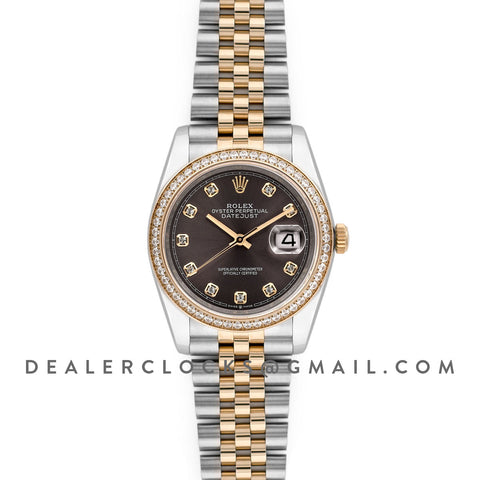 Datejust 36 126283RBR Dark Rhodium Dial in Yellow Gold and Steel with Diamond Set Bezel and Diamond Markers