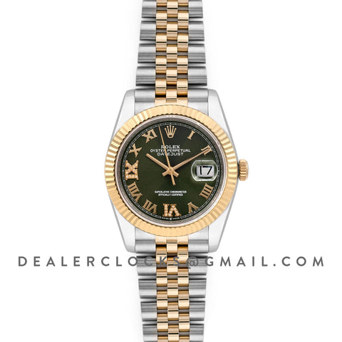 Datejust 36 126283RBR Olive Green Dial in Yellow Gold and Steel with Diamond Roman Numerals Markers