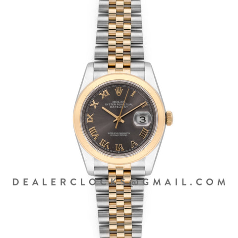 Datejust 36 126201 Dark Rhodium Dial in Yellow Gold and Steel with Roman Markers