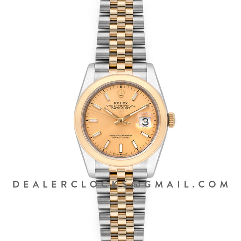 Datejust 36 126201 Champagne Dial in Yellow Gold and Steel with Stick Markers