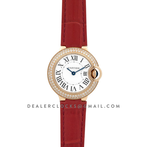 Ballon Bleu de Cartier 28mm White Dial in Gold with Diamonds on Red Leather Strap
