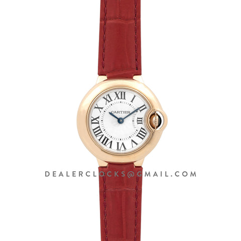 Ballon Bleu de Cartier 28mm White Dial in Gold on Red Leather Strap