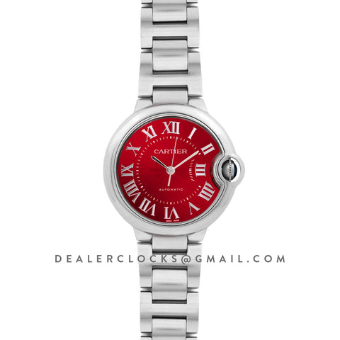 Ballon Bleu de Cartier 33mm Red Dial on Steel