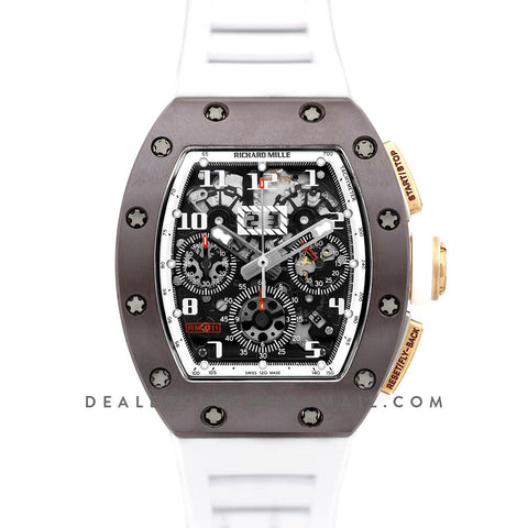 RM 011 Automatic Flyback Chronograph TZP-Z Brown Ceramic Asia Boutique Limited Edition on White Rubber Strap