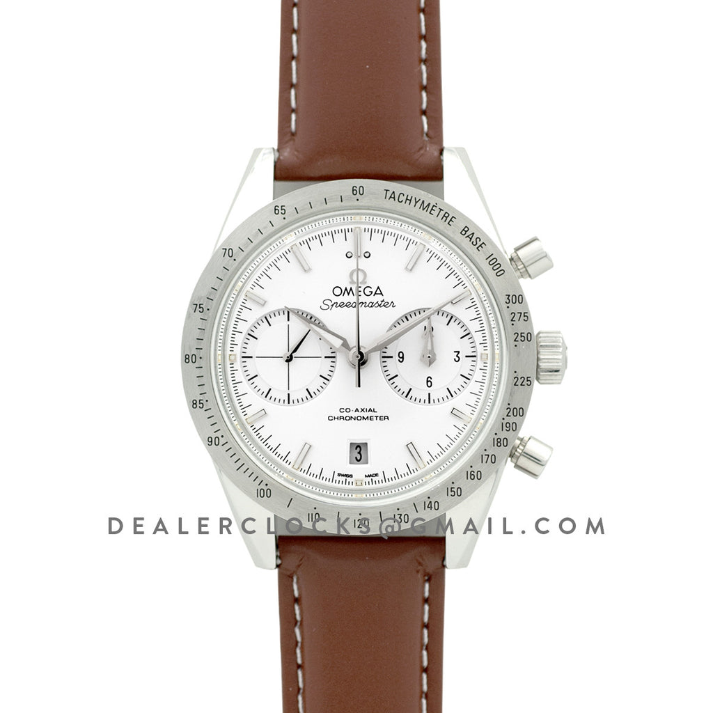 Speedmaster '57 Co-Axial White/Silver Dial on Brown Leather Strap