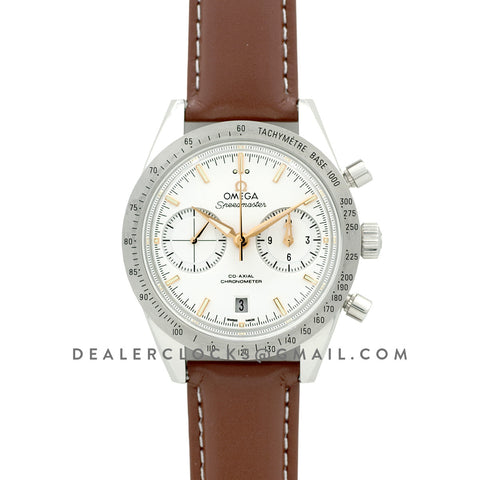 Speedmaster '57 Co-Axial White/Rose Gold Dial on Brown Leather Strap