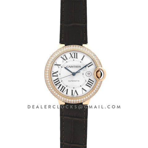 Ballon Bleu de Cartier 42mm White Dial in Rose Gold with Diamonds