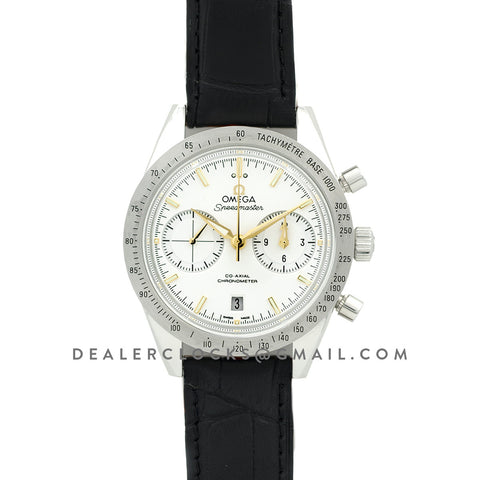 Speedmaster '57 Co-Axial White/Gold Dial on Black Leather Strap