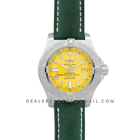 Avenger II Seawolf Yellow Dial in Steel on Leather Strap