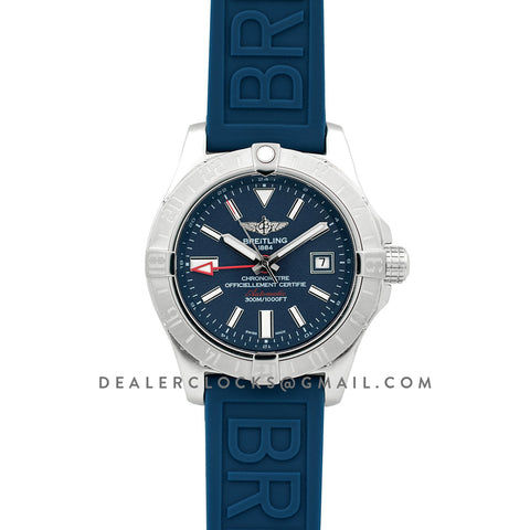 Avenger II GMT Blue Dial in Steel on Rubber Strap