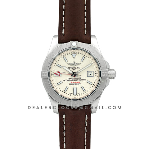 Avenger II GMT Silver Dial in Steel on Leather Strap