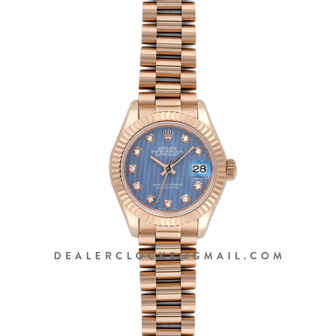 Ladies Datejust 279175 Blue Dial with Diamonds Markers in Rose Gold