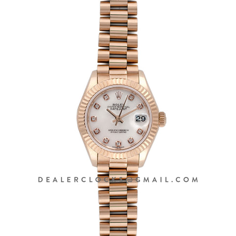 Ladies Datejust 279175 White Dial with Diamonds Markers in Rose Gold