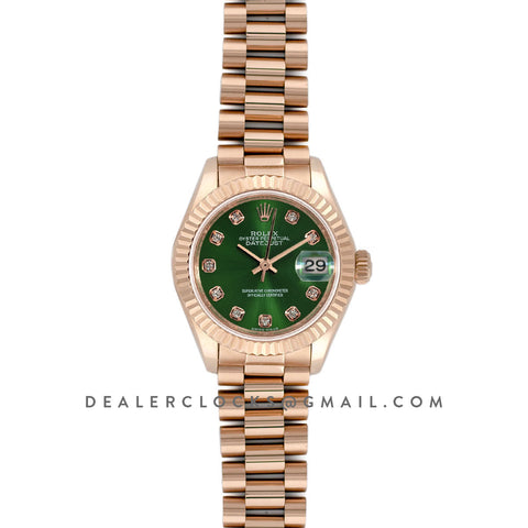 Ladies Datejust 279175 Olive Green Dial with Diamond Markers in Rose Gold